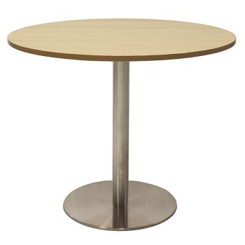 Vogue Round Meeting Table, Natural Oak Table Top, Stainless Steel Table Base