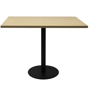 Vogue Square Meeting Table, Natural Oak Table Top, Black Table Base