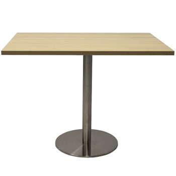 Vogue Square Meeting Table, Natural Oak Table Top, Stainless Steel Table Base