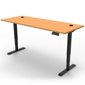 Arise Electric Push Button Height Adjustable Sit Stand Desk, Beech Desk Top, Black Under Frame