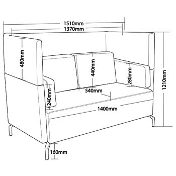 Lawson 2 Seater Lounge with Extended High Back, Dimensions