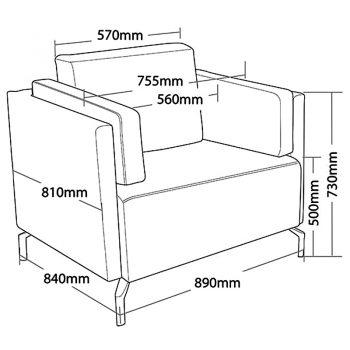 Lawson Lounge Chair, Dimensions
