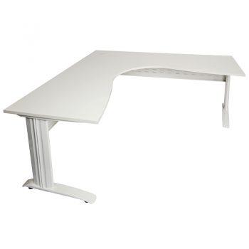 Corner Workstation, White Desk Top, Satin White Under Frame