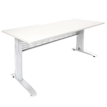 Smart Select Desk White Desk Top, Satin White Under Frame