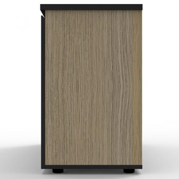 Supreme Hinged Door Credenza, Natural Oak, End View