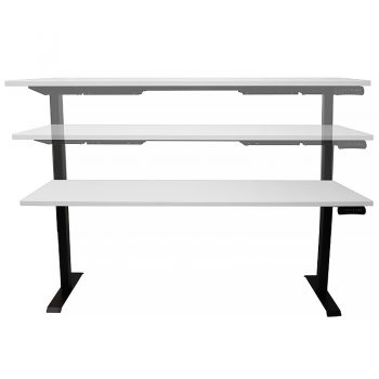 Black and white sit stand desk