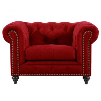 Red chesterfield chair