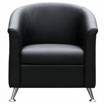 Black vinyl tub chair