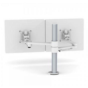 White C.ME Dual Monitor Arm